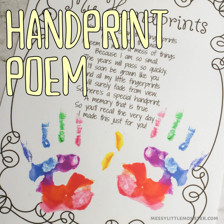 Handprint poem printatble